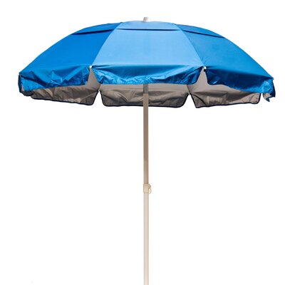 6 Lifeguard Beach Umbrella Fabric: Pacific Blue / Silver