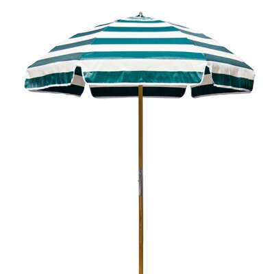 6.5 Beach Umbrella Fabric: Forest Green / White Stripe