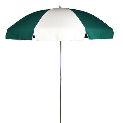 7.5 Beach Umbrella Tilt: Without Tilt, Fabric: Logo and White  Marine Grade Acrylic