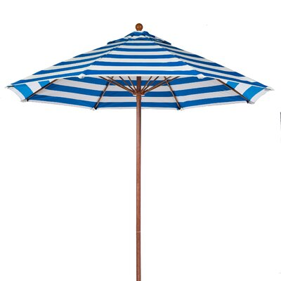 11 Market Umbrella Pole Type: Wood Grain Coated Aluminum Pole, Fabric: Blue and White Stripe