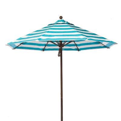 11 Market Umbrella Pole Type: Bronze Coated Aluminum Pole, Fabric: Turquoise and White Stripe