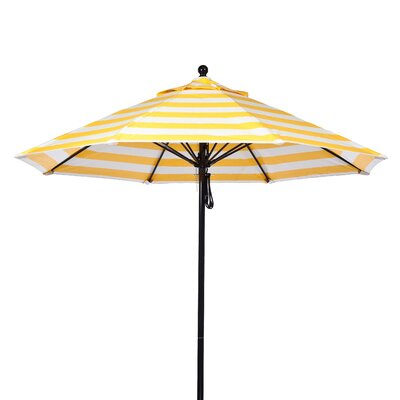 11 Market Umbrella Fabric: Yellow and White Stripe, Pole Type: Black Coated Aluminum Pole