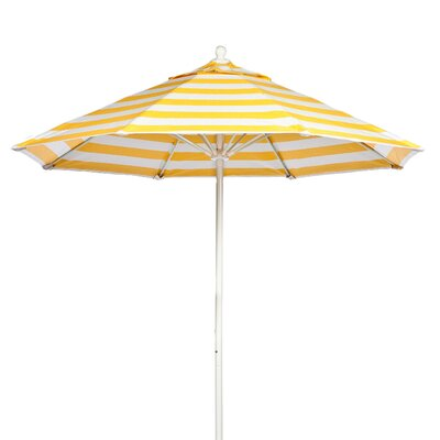 11 Market Umbrella Fabric: Yellow and White Stripe, Pole Type: White Coated Aluminum Pole