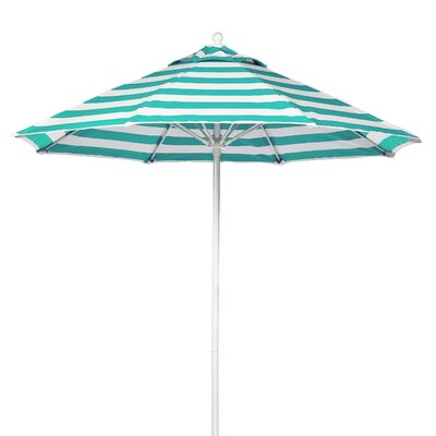 11 Market Umbrella Fabric: Turquoise and White Stripe, Pole Type: White Coated Aluminum Pole