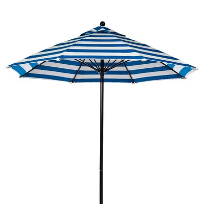 11 Market Umbrella Fabric: Blue and White Stripe, Pole Type: Black Coated Aluminum Pole