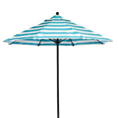 11 Market Umbrella Fabric: Turquoise and White Stripe, Pole Type: Black Coated Aluminum Pole
