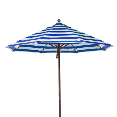11 Market Umbrella Pole Type: Bronze Coated Aluminum Pole, Fabric: Blue and White Stripe