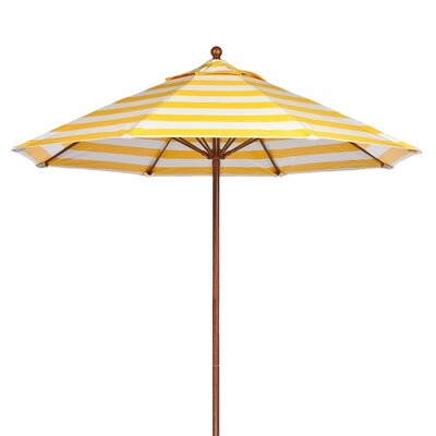 11' Market Umbrella Pole Type: Wood Grain Coated Aluminum Pole, Fabric: Yellow and White Stripe