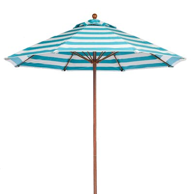 11 Market Umbrella Pole Type: Wood Grain Coated Aluminum Pole, Fabric: Turquoise and White Stripe