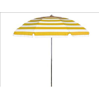 7.5 Beach Umbrella Tilt: Without Tilt, Fabric: Yellow and White Stripe  Marine Grade Acrylic