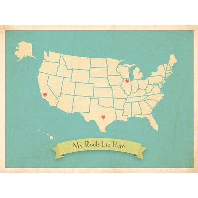 My Roots Personalized Usa Map Graphic Art In Blue