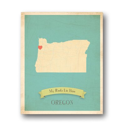 My Roots Oregon Personalized Map Graphic Art On Wrapped Canvas
