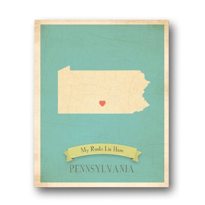My Roots Pennsylvania Personalized Map Graphic Art On Wrapped Canvas