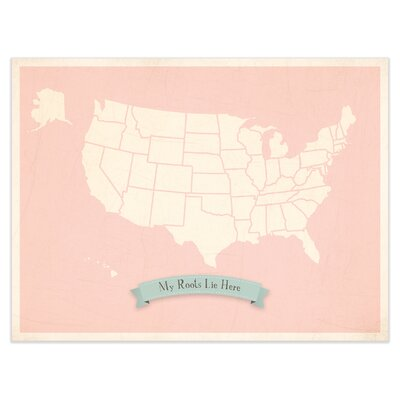 My Roots Personalized Usa Map Graphic Art In Pink