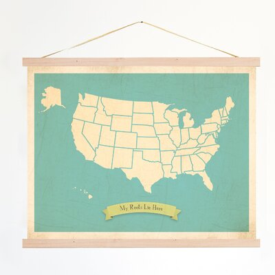 My Roots Personalized Usa Map Graphic Art On Canvas In Blue