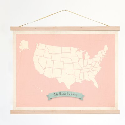 My Roots Personalized Usa Map Graphic Art On Canvas In Pink