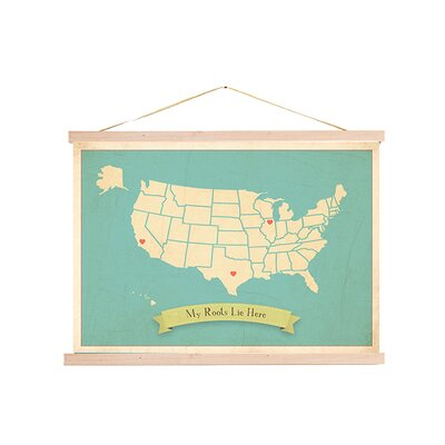 My Roots Personalized Usa Map Tapestry Graphic Art On Canvas In Blue