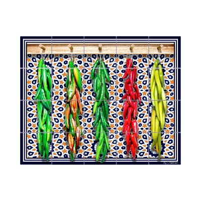 Chili Peppers Kitchen Tile Mural in Multi-Colored Size: 24 x 30