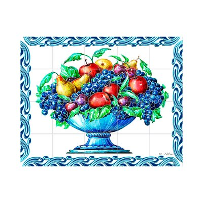 Fruit Vase Kitchen Tile Mural in Multi-Colored Size: 18 x 36