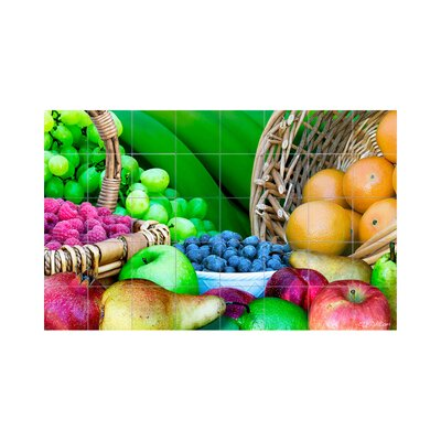 Fruits Kitchen Tile Mural in Multi-Colored Size: 18 x 36