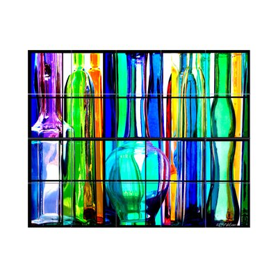 Glass Bottles Kitchen Tile Mural in Multi-Colored Size: 30 x 36