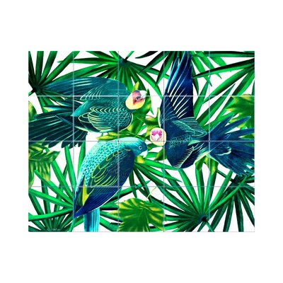 Parrots Kitchen Tile Mural in Multi-Colored Size: 24 x 42