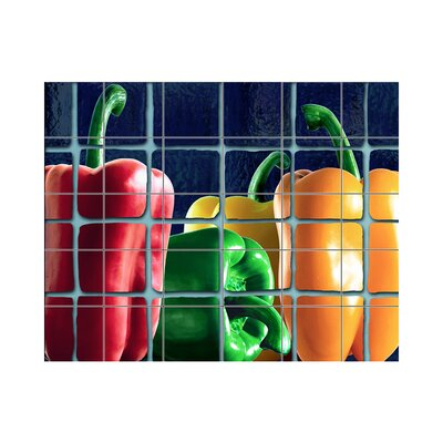 Peppers Kitchen Tile Mural in Multi-Colored Size: 18 x 36