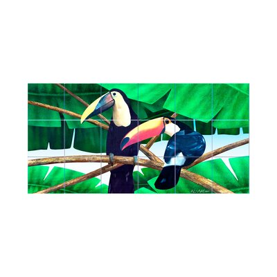Toucans Kitchen Tile Mural in Multi-Colored Size: 18 x 36