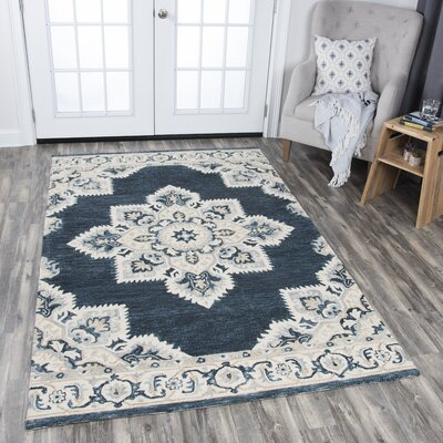 Landrienne Hand Tufted Dark Blue Area Rug Rug Size: Rectangle 5 x 8