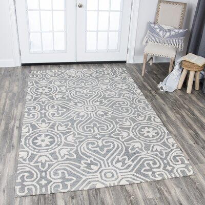 Nordmeyer Hand-Tufted Gray Wool Area Rug Rug Size: Rectangle 26 x 8