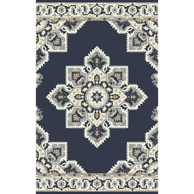 Polen Hand Tufted Dark Blue Area Rug Rug Size: 5 x 8