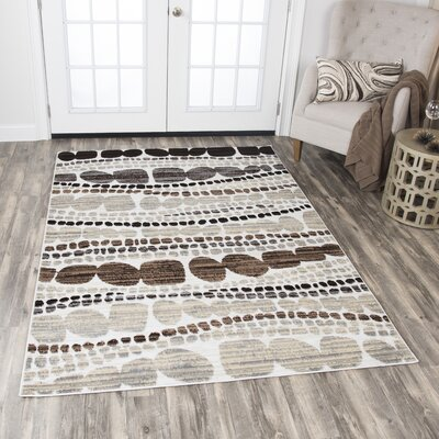 Jordon Ivory/Black Area Rug Rug Size: Rectangle 52 x 73
