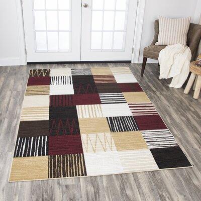 Dashawn Black/Red/Gold Area Rug Rug Size: 52 x 73