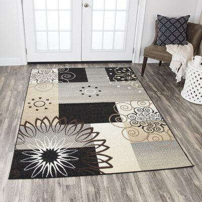 Chandler Gray/Gold/Black Area Rug Rug Size: Rectangle 8 x 10