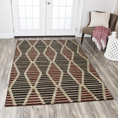 Clarence Beige/Red/Black Area Rug Rug Size: 8 x 10