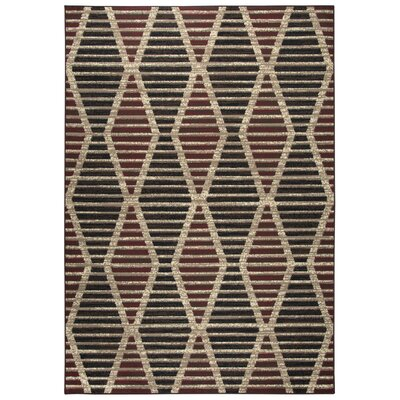 Clarence Beige/Red/Black Area Rug Rug Size: Rectangle 52 x 73