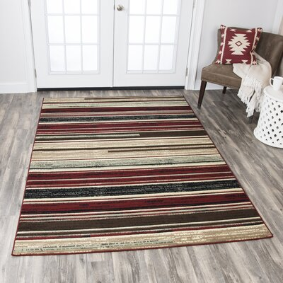 Church Beige/Red/Black Area Rug Rug Size: 5'2