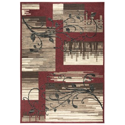 Cooke Red/Beige Area Rug Rug Size: 52 x 73