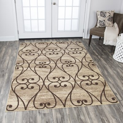 Berwyn Beige Area Rug Rug Size: Rectangle 52 x 73