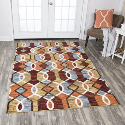Kiley Gold/Red Area Rug Rug Size: Rectangle 8 x 10