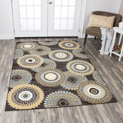 Kiley Brown/Ivory Area Rug Rug Size: Rectangle 52 x 73