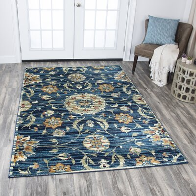 Phillip Dark Blue Area Rug Rug Size: 52 x 73