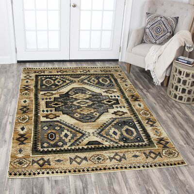 Phillip Beige/Black Area Rug Rug Size: Rectangle 52 x 73