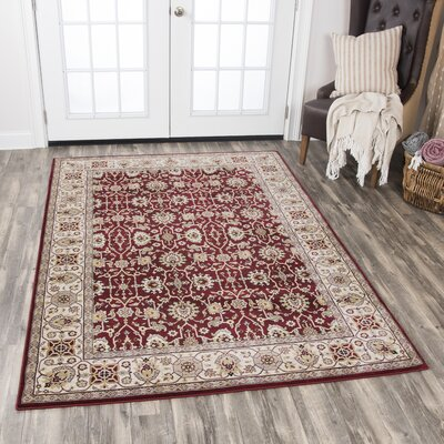 Adkisson Red Area Rug Rug Size: Rectangle 9'10