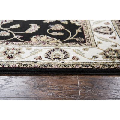 Adkisson Black Area Rug Rug Size: 53 x 76
