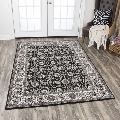 Adkisson Black Area Rug Rug Size: Rectangle 710 x 1010