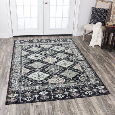 Perry Black Area Rug Rug Size: 33 x 53