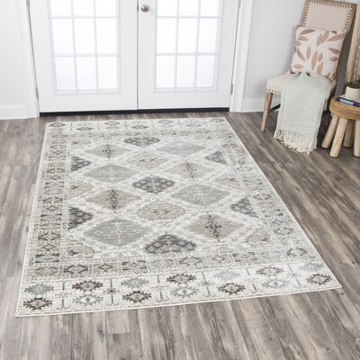Pratt Geometric Ivory Area Rug Rug Size: Rectangle 53 x 76