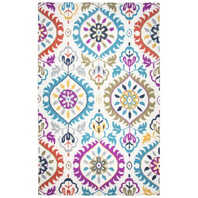 Duron Hand-Tufted Wool Ivory/Pink Area Rug Rug Size: Rectangle 9 x 12