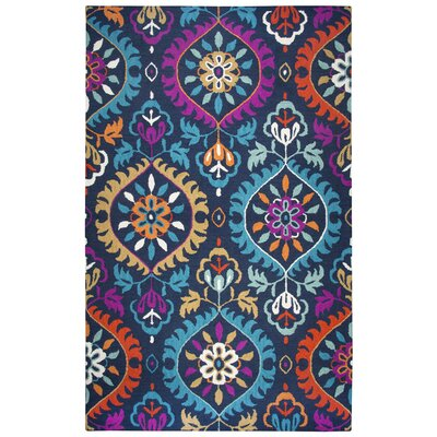 Duron Hand-Tufted Wool Navy/Pink Area Rug Rug Size: Rectangle 26 x 8